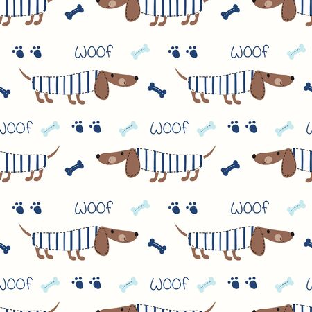 Seamless pattern with cute dogs and bones for kids design, scrapbook paper, wrapper