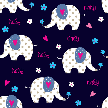 Seamless pattern with cute elephants for kids design, bedding wear, wrapper paper
