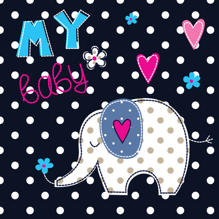 desing: Vector illustration with cute elephant for baby shower, kids desing, bedding wear and t-shirt design