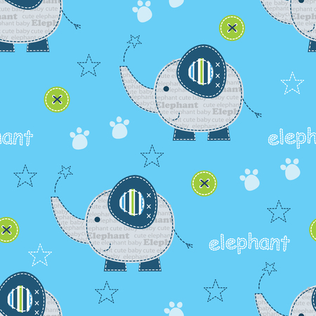 Seamless pattern with cute elephants for kids design, bedding wear, wrapping paper