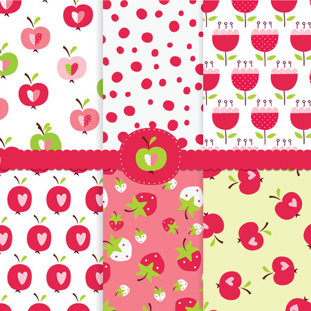 strawberies: Set of abstract seamless pattern with apples, strawberies and abstract flowers for wrapping paper, scrapbook paper, bedding design Illustration