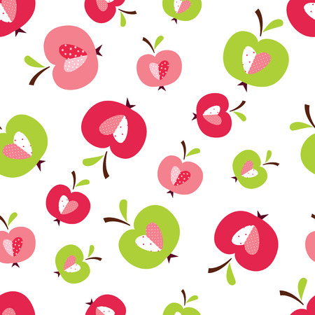 Seamless pattern with abstract cute apples for wrapping paper, scrapbook paper