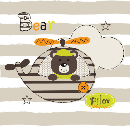 A Vector illustration with cute pilot bear for t-shit design Illustration