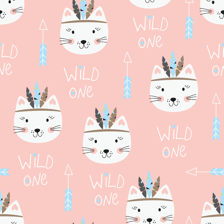 Seamless pattern with cute indian cats. Vector illustration for wrapping paper, scrapbook paper, bedding pattern Illusztráció