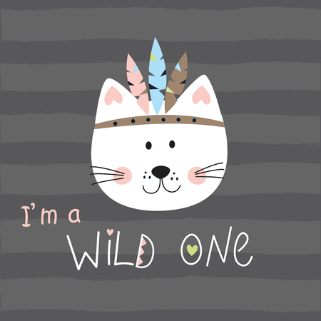 Vector illustration with cute indian cat for t-shirt , speeping wear design