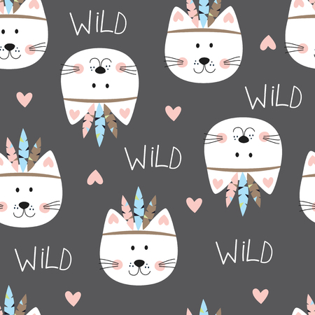Seamless pattern with cute indian cats. Vector illustration for wrapping paper, scrapbook paper, bedding pattern Illustration