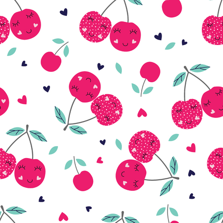 Seamless pattern with cute cherries. Vector illustration for scrapbook paper, wrapping paper, bedding pattern