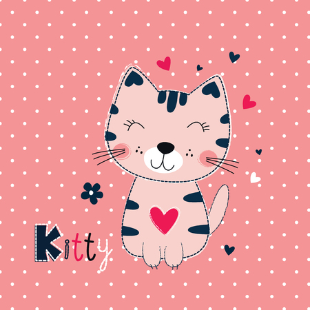 Cute vector illustration with funny cat for kids design Illusztráció