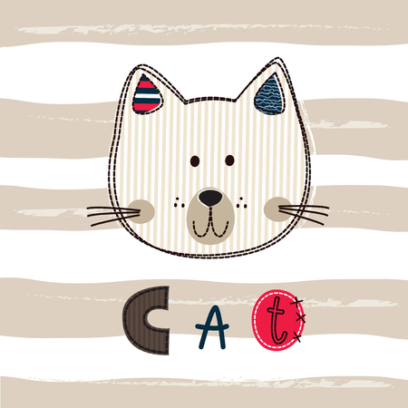 Cute vector illustration with funny cat for kids design Illustration