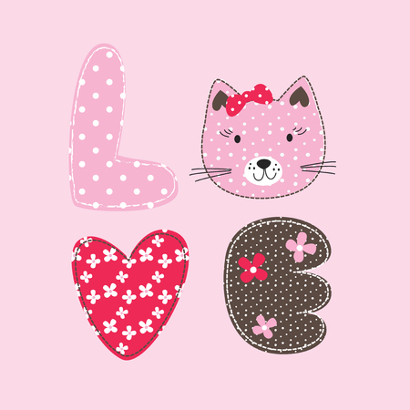 Cute vector illustration with  cat and letters for greeting card, invitation, t-shirt design