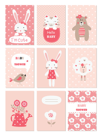 Set Of Baby Cards With Cute Animals And Flower Elements For Baby