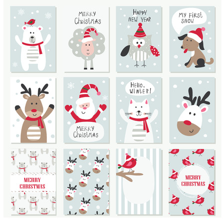 Set of Christmas and New Year cards with cute animals Illustration