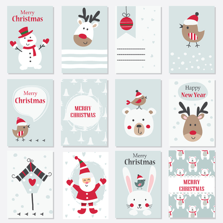 Set of Christmas and New Year cards with cute animals, Santa and snowman Illustration