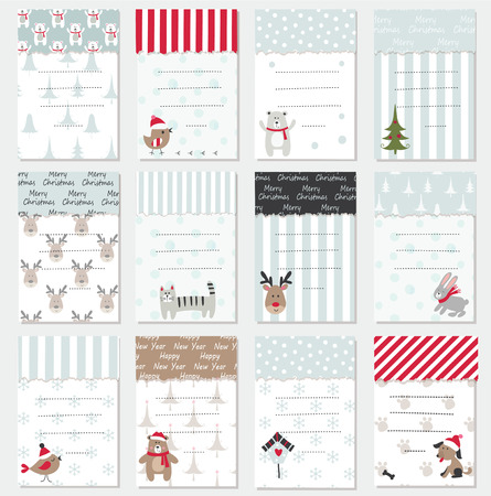 Set of Christmas and New Year cards with cute animals and winter elements.