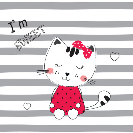 Cute vector  illustration with funny cartoon cat for t-shirt, sleeping wear design