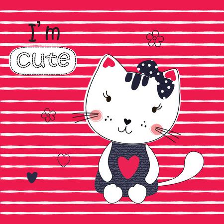 Cute vector  illustration with funny cartoon cat for t-shirt design, sleeping wear design,baby shower, greeting card Illusztráció