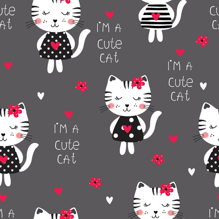 Seamless pattern with cute girl cats and lettering for scrapbook, wrapping paper
