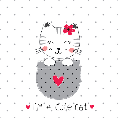 Vector illustration with cute cat in the pocket for baby shower, greeting card, t-shirt design