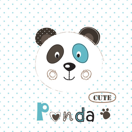 Vector  illustration with cute panda and graphic elements for baby shower, t-shirt design, greeting card