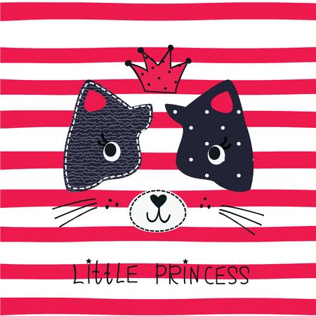 Cute princess cat vector illustration for t-shirt design. Illusztráció