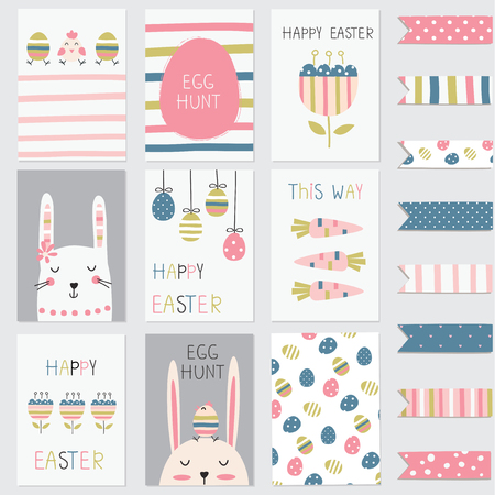 Easter greetings cards set with cute rabbits, eggs, flowers and abstract elements Vettoriali