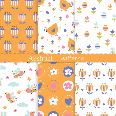Easter seamless patterns set with abstract flower, chicken, eggs and bees Illustration
