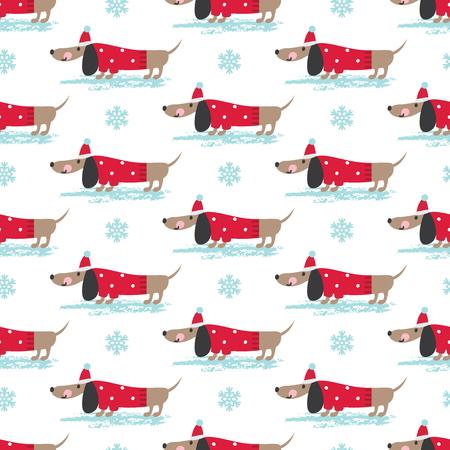 Patrón sin fisuras de invierno con lindos perros graciosos y copos de nieve. Ilustración vectorial