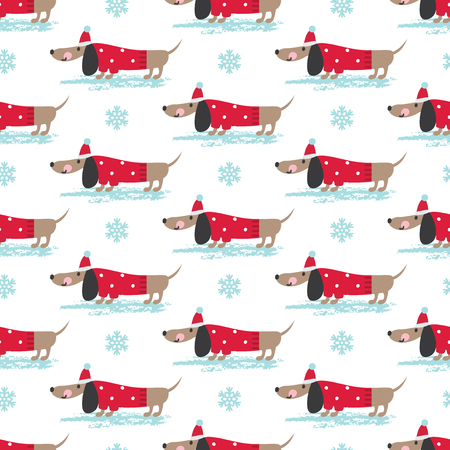 Winter seamless pattern with cute funny dogs  and snowflakes. Vector illustration