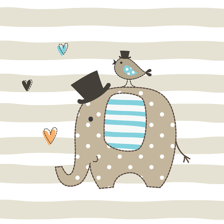 Cute vector illustration with an elephant and a bird for t-shirt design, greeting card, baby shower