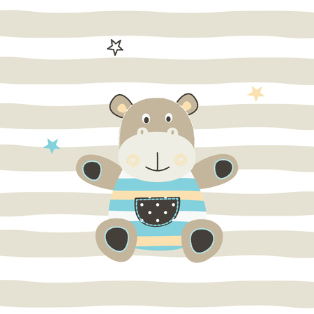 Cute little hippo vector illustration for greeting card, baby shower, t-shirt design