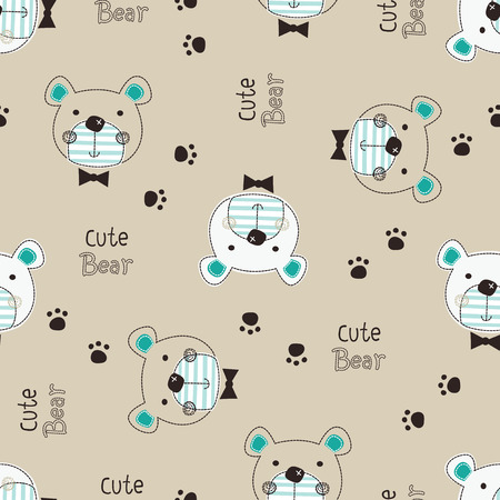 Cute Teddy Bear seamless pattern