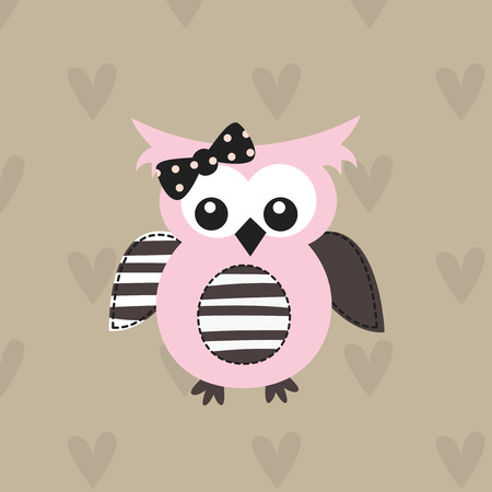 Cute vector illustration with funny owl for baby shower, greeting card, t-shirt design