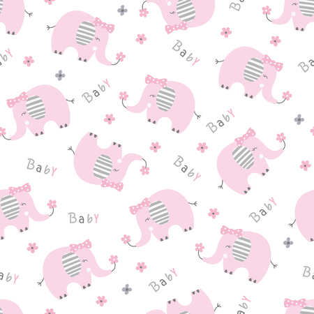 Seamless pattern with cute pink elephants vector illustration