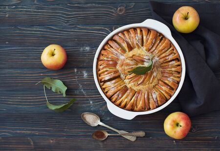 Apple pie on a dark wooden background. Flat lay. Copy space Фото со стока