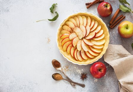 Homemade apple pie in baking tray and fresh apples on a gray stone Banque d'images