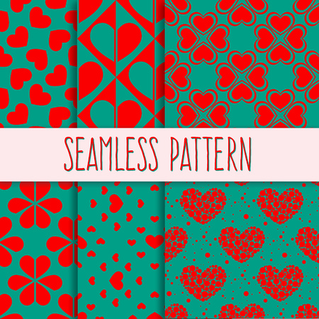 entwined: Vector seamless pattern. Holiday repeating texture for St. Valentines Day. Geometric entwined hearts