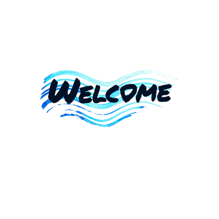 cordial: Welcome lettering on abstract brush wave blue stroke. Stock Photo