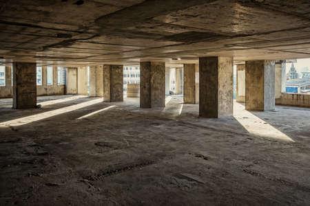 empty warehouse: construction parking Stock Photo