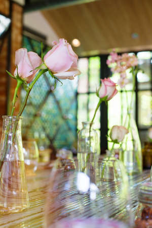 Roses on dinner Table. Wedding banquet  decoration