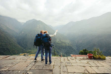 Girls travel in hight mountains together