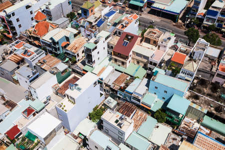 Small buildings in Vietnam aerial view, asian style rooftops skyline