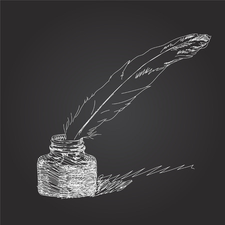 Quill Pen hand draw black background  Vector