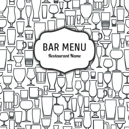 Vector Illustration of Outline silhouette Set of Bar Glasss  for Design, Website, Background, Banner. Restaurant Element Isolated Template for Menu. Vodka, Beer, Whiskey, Wine