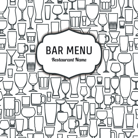 champagne glasses: Vector Illustration of Outline silhouette Set of Bar Glasss  for Design, Website, Background, Banner. Restaurant Element Isolated Template for Menu. Vodka, Beer, Whiskey, Wine