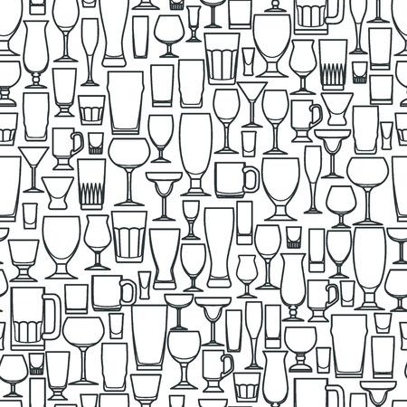 Vector Illustration of Outline silhouette Set of Bar Glasss  for Design, Website, Background, Banner. Restaurant Seamless Pattern Template for Menu. Vodka, Beer, Whiskey, Wine