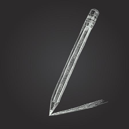chalk eraser: Chalk Pencil hand draw with eraser on blackboard