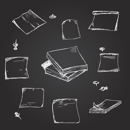 paper notes: Set of hand drawn chalk paper notes on blackboard