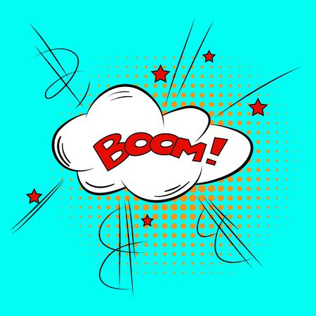 biff: Comic Speech Bubble BOOM Cartoon Style Vector