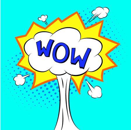 wow: Burbuja cómica del discurso WOW estilo de la historieta del vector