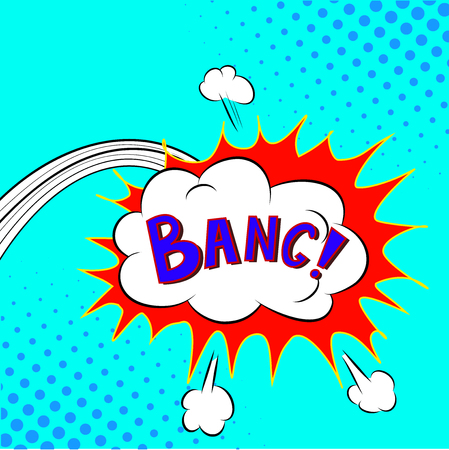 biff: Comic Speech Bubble Bang Cartoon Vector Frame Illustration